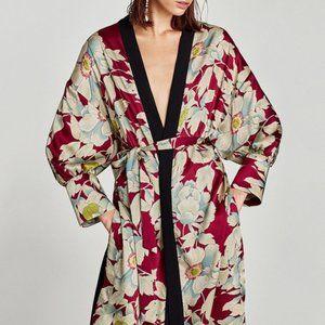 Zara Kimono Style Robe Floral Print Duster Jacket